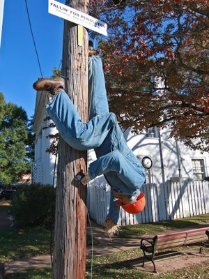 'Fallin' For Pendleton' on North Mechanic Street in Pendleton was just one of the past entries in the town's Scarecrow contest. Applications are now available for this year's contest, which will be part of the Oct. 14 Fall Festival on the town's Village Green.