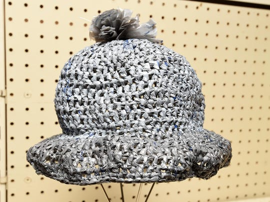A hat woven from plastic bags was entered in the creative recycling category at the Baxter County Fair on Tuesday.