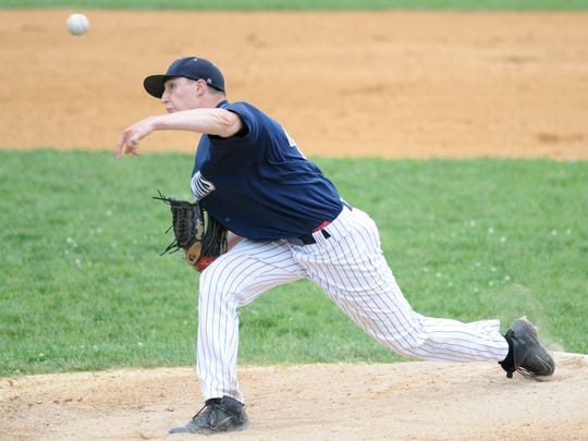 St. Augustine's Jack Halbruner pitches during a 3-1 win over Bishop Eustace on Sunday.