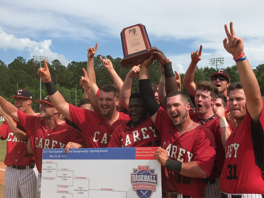 The William Carey baseball team celebrates last week after advancing to the NAIA World Series.