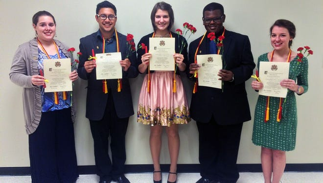 The University of Louisiana at Monroe Spanish Honor Society Sigma Delta Pi initiates its newest members into historical society. From Left: Erin Foster, Walter Kipp, Catherine Schilling, Anthony Archield, and Madeline Webb.