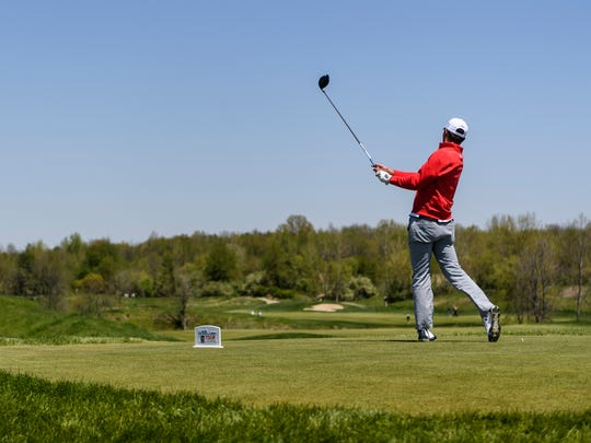 Maverick McNealy tees off at Victoria National Golf Course's hole one during the third round of the 2018 United Leasing & Financing Championship — now the Korn Ferry Tour Championship — at Victoria National Golf Course in Newburgh, Ind., April 28, 2018. The 2019 Korn Ferry Tour Championship gates open at 7:30 a.m. Friday and the tournament runs through Sept. 2.