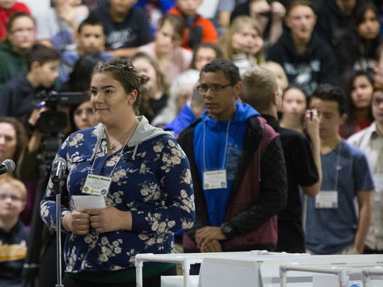 Brittney Mason, a student at Alamogordo High School was one of the students lined up to ask Astronaut Scott Tingle questions as he responded live from the International Space Station via Downlink, Wednesday Feb21, 2018 at Alamogordo High School.