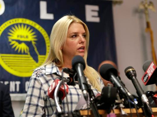 Florida Attorney General Pam Bondi speaks during a news conference held  in response to a deadly shooting outside the Club Blu nightclub in Fort Myers, Fla., Monday, July 25, 2016. Police said the gunfire, which erupted at a swimsuit-themed party for teens, was not an act of terrorism.  (AP Photo/Lynne Sladky)