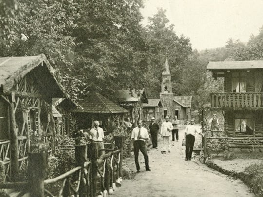 The German internees used driftwood found along the French Broad River from 1916 floods to construct a makeshift German village.