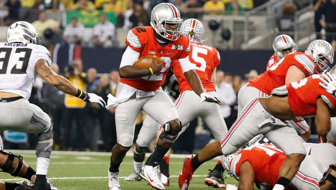 Ohio State quarterback Cardale Jones in action against the Oregon in the national title game Jan. 12.