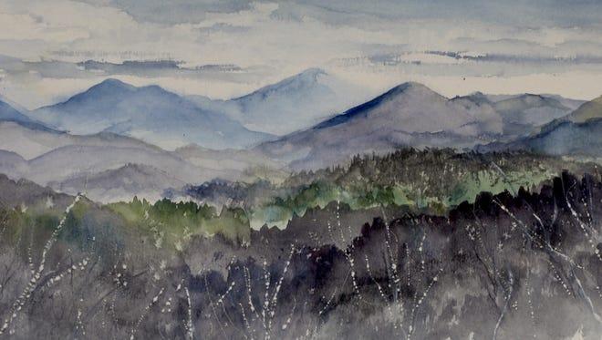 The Blue Ridge escarpment looms in the distance like a blue wall.
