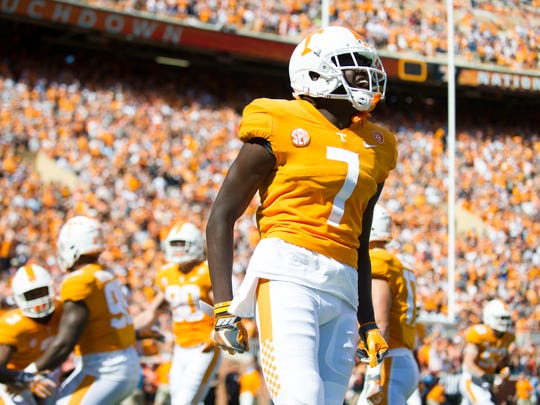 Tennessee wide receiver Brandon Johnson (7) celebrates a touchdown made by Tennessee running back Ty Chandler (3) in the first few seconds of the Tennessee Volunteers vs. Indiana State Sycamores game at Neyland Stadium in Knoxville, Tenn. Saturday, Sept. 9, 2017.