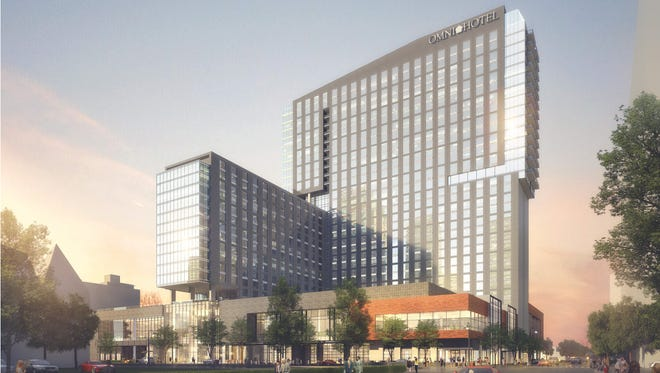 This rendering shows a completed Omni Hotel, which will provide more than 600 hotel rooms, 225 luxury apartments, a garage and retail space.