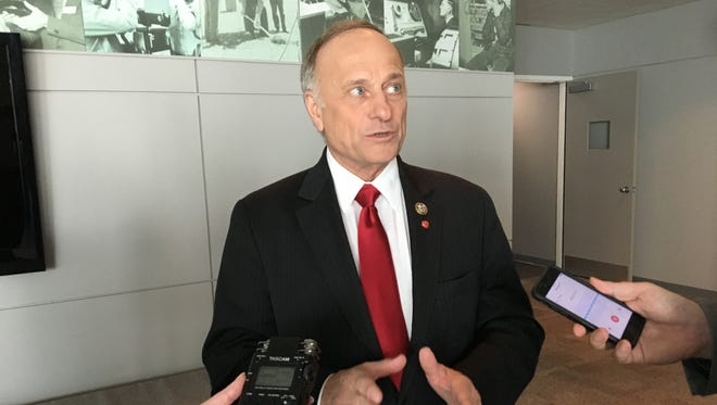 "U.S. Rep. Steve King answers reporters' questions following a taping of ""Iowa Press"" on Thursday."