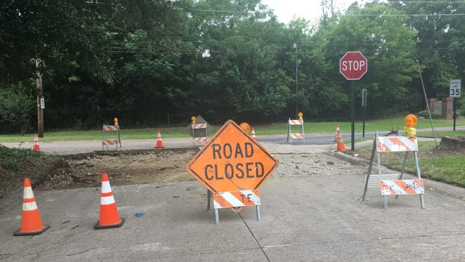 Road construction closes Holcomb Drive at Blanchard Road.