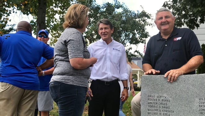Republican gubernatorial candidate Randy Boyd attended the Marshall County High School homecoming parade with Marshall County Mayor Joe Boyd Liggett. The two watched the parade from the courthouse lawn in Lewisburg.