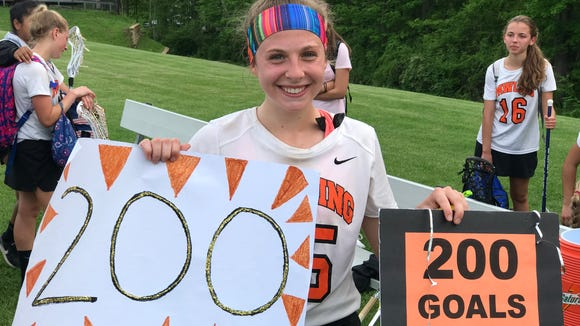 Pawling girls lacrosse player Morgan McCarthy scored her 200th career goal in a 15-11 win over Westlake in a Section 1 Class D first round game on Thursday, May 17 2018.