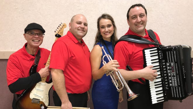 Squeezebox, a four-piece band based in Ohio, includes band members, left to right: Joe Poper, guitar; Dana Lindblad, drummer; Mollie B, trumpet and Ted Lange, accordion.