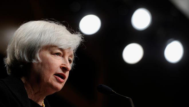 Federal Reserve Chair Janet Yellen speaks at the International Monetary Fund in Washington.