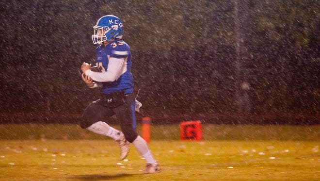 KCD running back Ashton Robinson breaks away to score a touchdown in the pouring rain but the play is negated on a penalty.27 October 2017