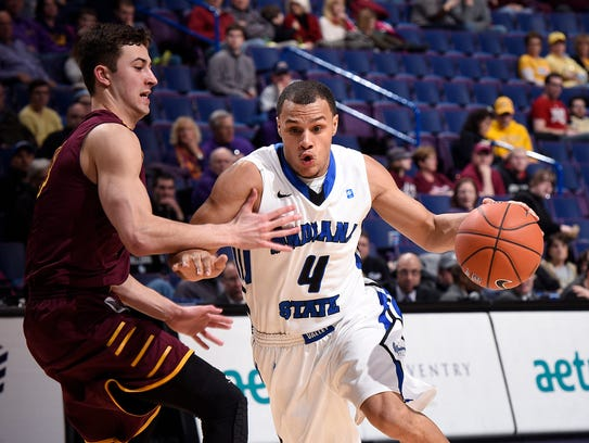 FILE -- Indiana State Sycamores guard Brenton Scott