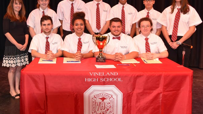 (Front row, from left) Travis Harrell, Nerys Muller, Bobby Dickenson and Hannah Joyce; and (back row, from left) Vicki Yeager, Savannah Brown, Savan Patel, Lucas Thomas, Anuj Patel, Ian Simek and Julia Albertson are the members of the Vineland High School Academic Team.