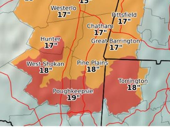 Estimated snowfall in the storm forecast for Tuesday,