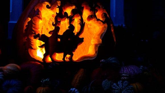 "The mammoth pumpkin has depictions of he movie ""Frozen"""