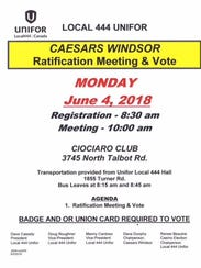 Local 444 Unifor announced the ratification meeting