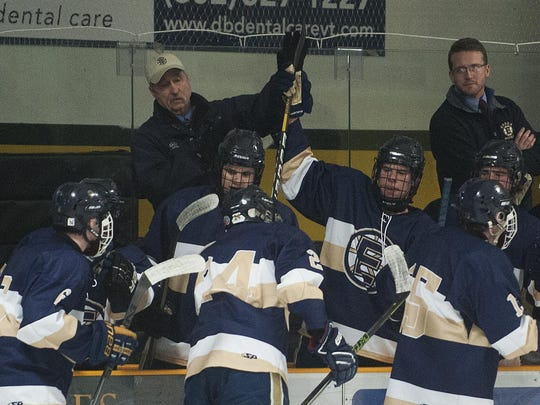 Essex celebrates a goal during a boys hockey game against