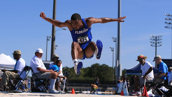KeAndre Bates is shown during the first day of the NCAA Outdoor Championships East Preliminary last May at Hodges Stadium in Jacksonville, Fla. Bates won an indoor long jump national title this weekend.