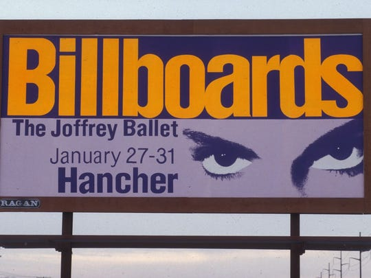 This billboard was used to advertise the Joffrey Ballet's