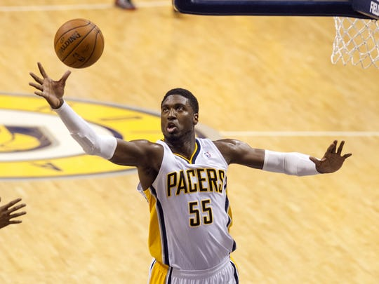 Roy Hibbert goes after a rebound during the first half of action. The Indiana Pacers hosted the Miami Heat in Game 5 of the NBA Eastern Conference Finals.