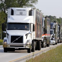 NASCAR haulers form a convoy to Elkhart Lake's Road America Thursday August 27, 2015 near Waldo.