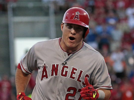American League outfielder Mike Trout (27) rounds third