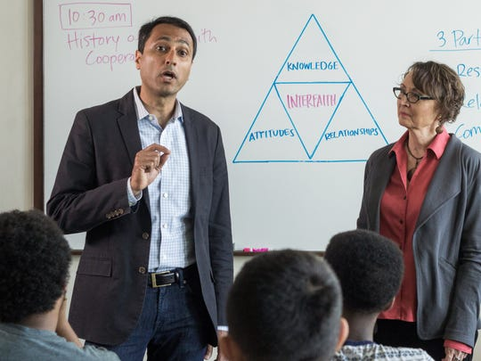 Eboo Patel visits about 25 college and university campuses each year to speak with college students about interfaith activism and religious diversity.