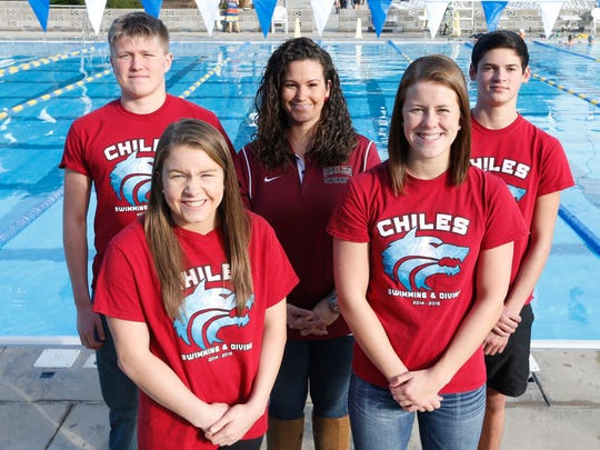 All-Big Bend award winners, front row, left to right, Diver of the Year Allison Greene (Chiles), Swimmer of the Year Makayla Ayers (Chiles). Back row, Swimmer of the Year Charlie Gallagher (Chiles), Coach of the Year Amanda Meyer (Chiles), Diver of the Year Chase Lane (Chiles).