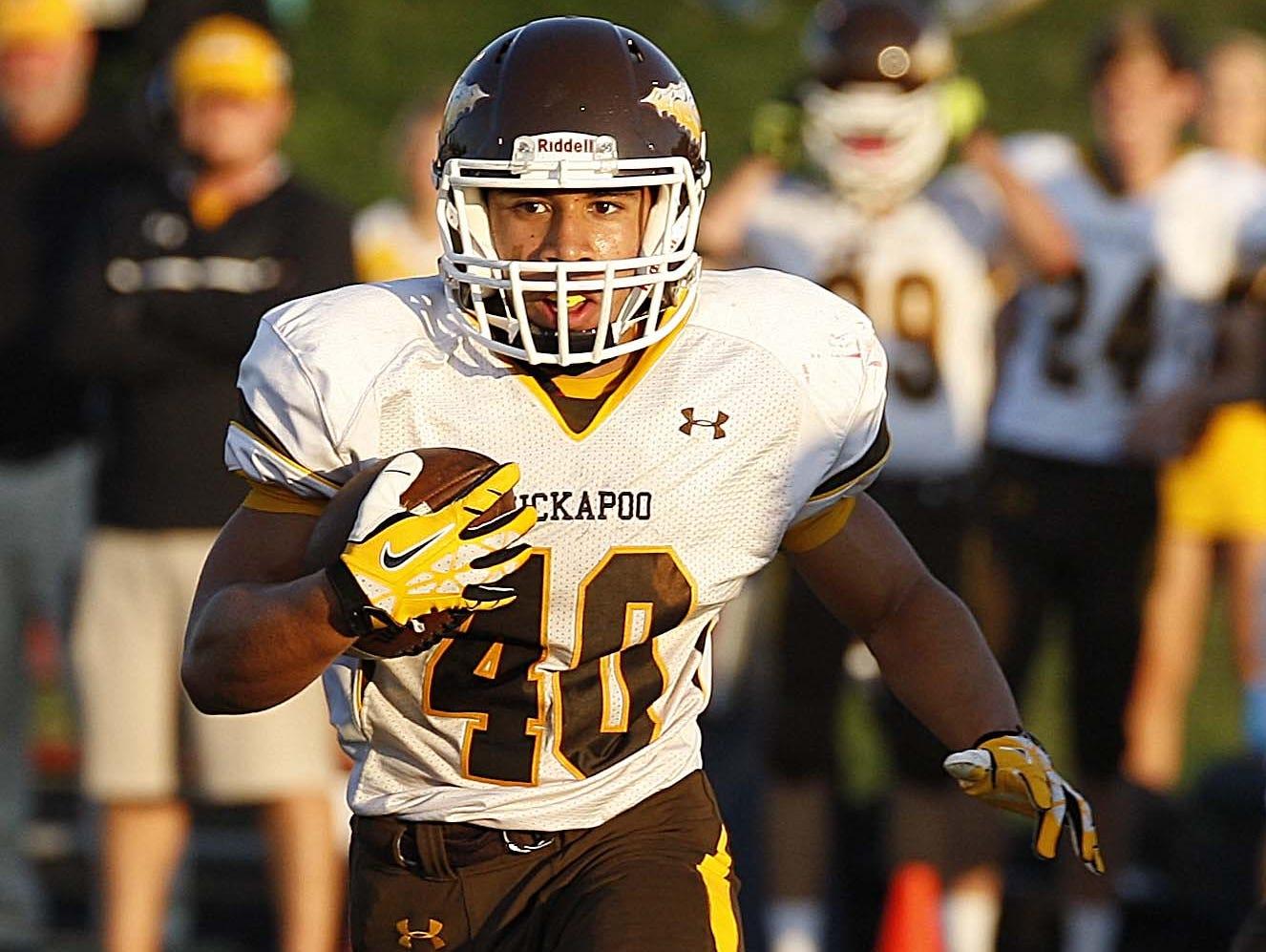 Kickapoo's Malachi Stout scored six touchdowns in a 49-21 win at Lebanon