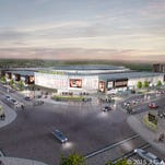 An artist's rendering of the proposed arena and sports clinic on Coralville's Iowa River Landing.
