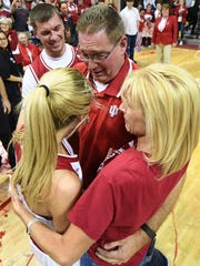 Indiana Hoosiers guard Tyra Buss (3) hugs her parents after the game against Virginia Tech at Simon Skjodt Assembly Hall in Bloomington, Ind., on Saturday, March 31, 2018.