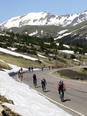 Cyclists ascend Trail Ridge Road on the 2001 Ride The Rockies.