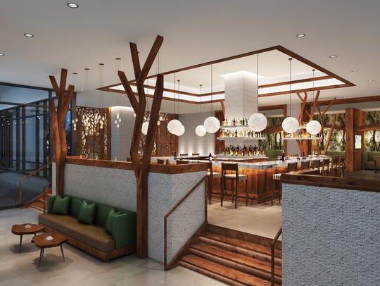 A rendering of Oak & Honey, the modern lounge that