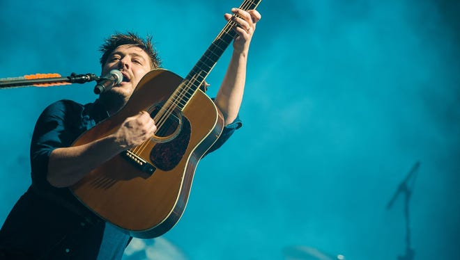 Marcus Mumford, seen during a March performance at the Brazilian edition of Lollapalooza, will perform with Mumford & Sons on Sunday at Bankers Life Fieldhouse.