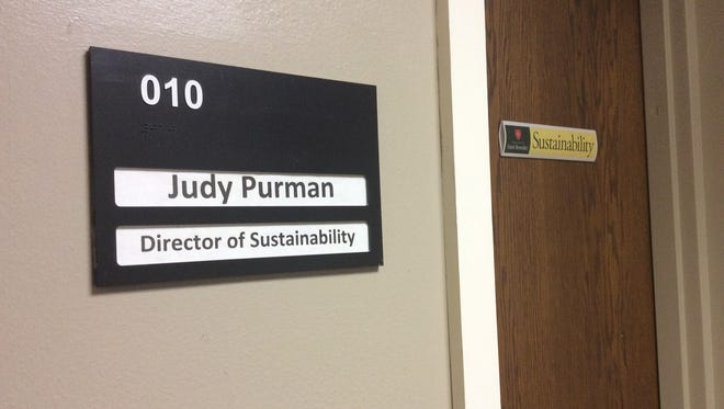 The Office of Sustainability sits closed Friday afternoon at the College of St. Benedict in St. Joseph.