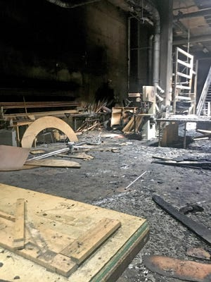 Extensive damage is seen inside the theater building of the Peck School of the Arts at the University of Wisconsin-Milwaukee after a fire in April 2017 caused $1 million in damage.