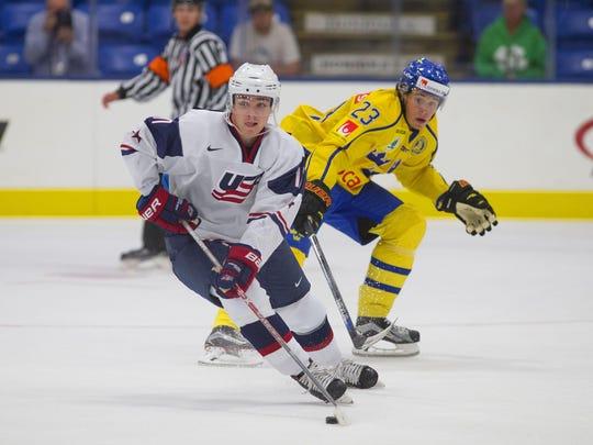 Team USA forward and USA NTDP alum Clayton Keller looks