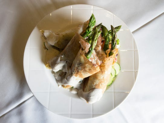 Crab and Asparagus Herb Crepes. Bunch at the Blue Heron