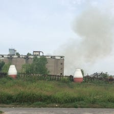 A fire started at an abandoned concrete factory Friday morning.