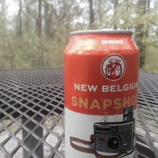A photo of a New Belgium Snapshot wheat.