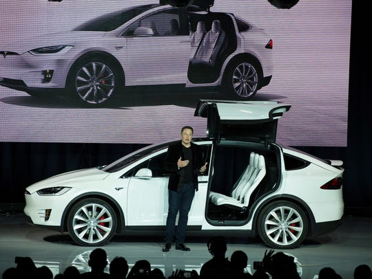 Tesla Motors  CEO Elon Musk unveils the Model X at