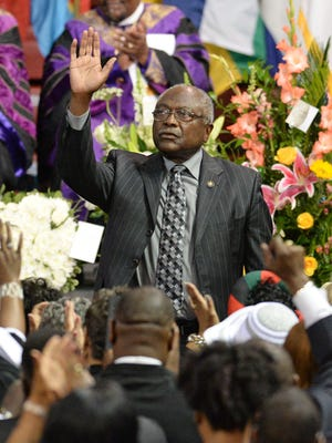Congressman James E. Clyburn at the funeral services for State Senator Clementa Pinckney Friday, June 26, 2015 at the TD Arena on the campus of the College of Charleston.