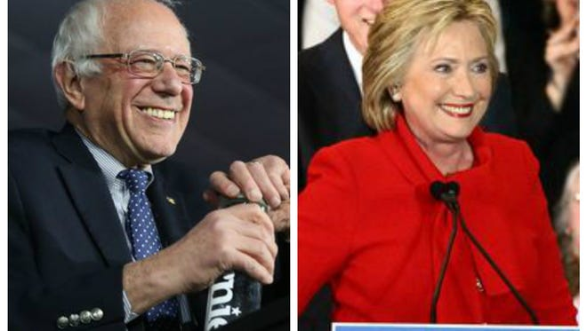 Bernie Sanders and Hillary Clinton at their caucus parties on Feb. 1.