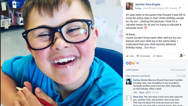 Jennifer Kiss-Engele posted a letter to Facebook after her 8-year-old son wasn't invited to a classmate's party.