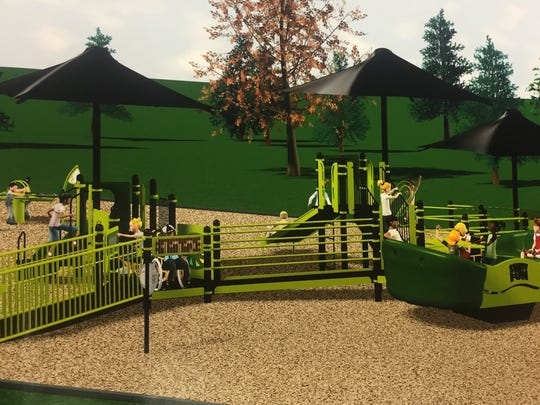 A sketch of what a completed, more accessible Etna Elementary playground could look like.